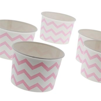 6 TREAT CUPS POT A GLACE ROSE ET BLANC - ANNIVERSARY HOUSE