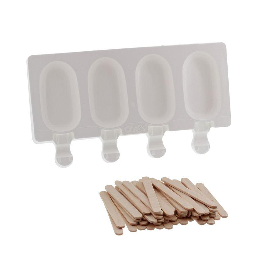 Moule 4 mini glaces esquimaux en silicone et 50 bâtonnets en bois- Silikomart