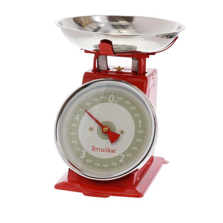 Balance de cuisine retro rouge avec bol terraillon for Terraillon balance de cuisine
