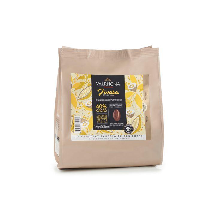 Sac de fèves chocolat au lait Jivara 40% 1 kg - Valrhona