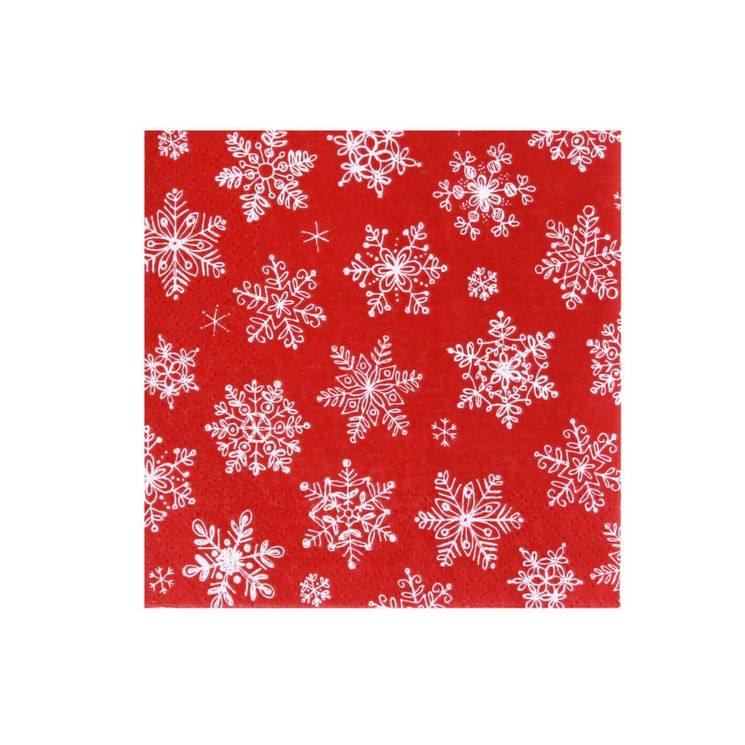 Serviettes 25cm x 25cm flocons rouge ou blanc Cocktail