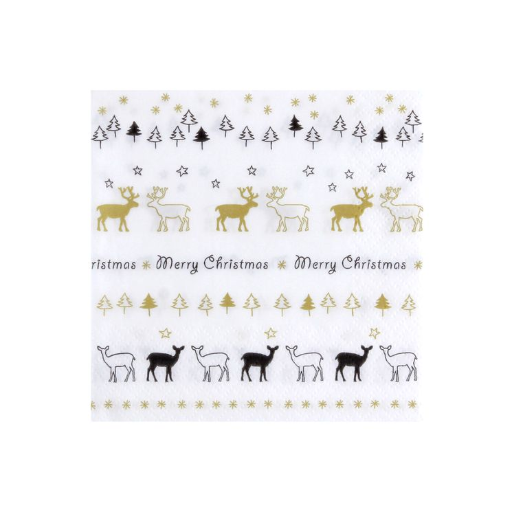 Serviettes cerfs Merry Christmas 25x25cm - Cocktail