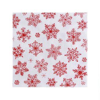 Serviettes 33cm x 33cm flocons rouges fond blanc - Atelier