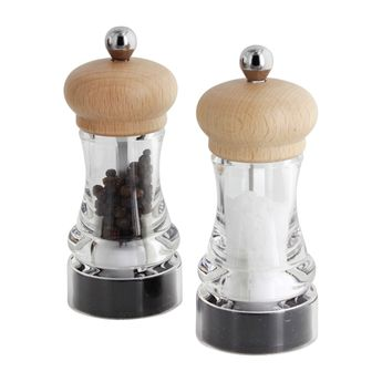 COFFRET 2 MOULINS POIVRE ET SEL HIP HOP CERAMIQUE TRANSLUCIDE ET NATUREL - MARLUX