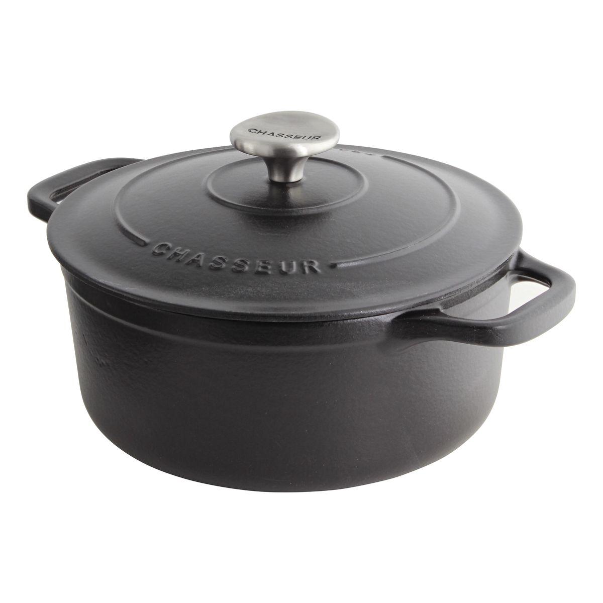 Cocotte en fonte ronde 20 cm 2.4L noire - Le Chasseur
