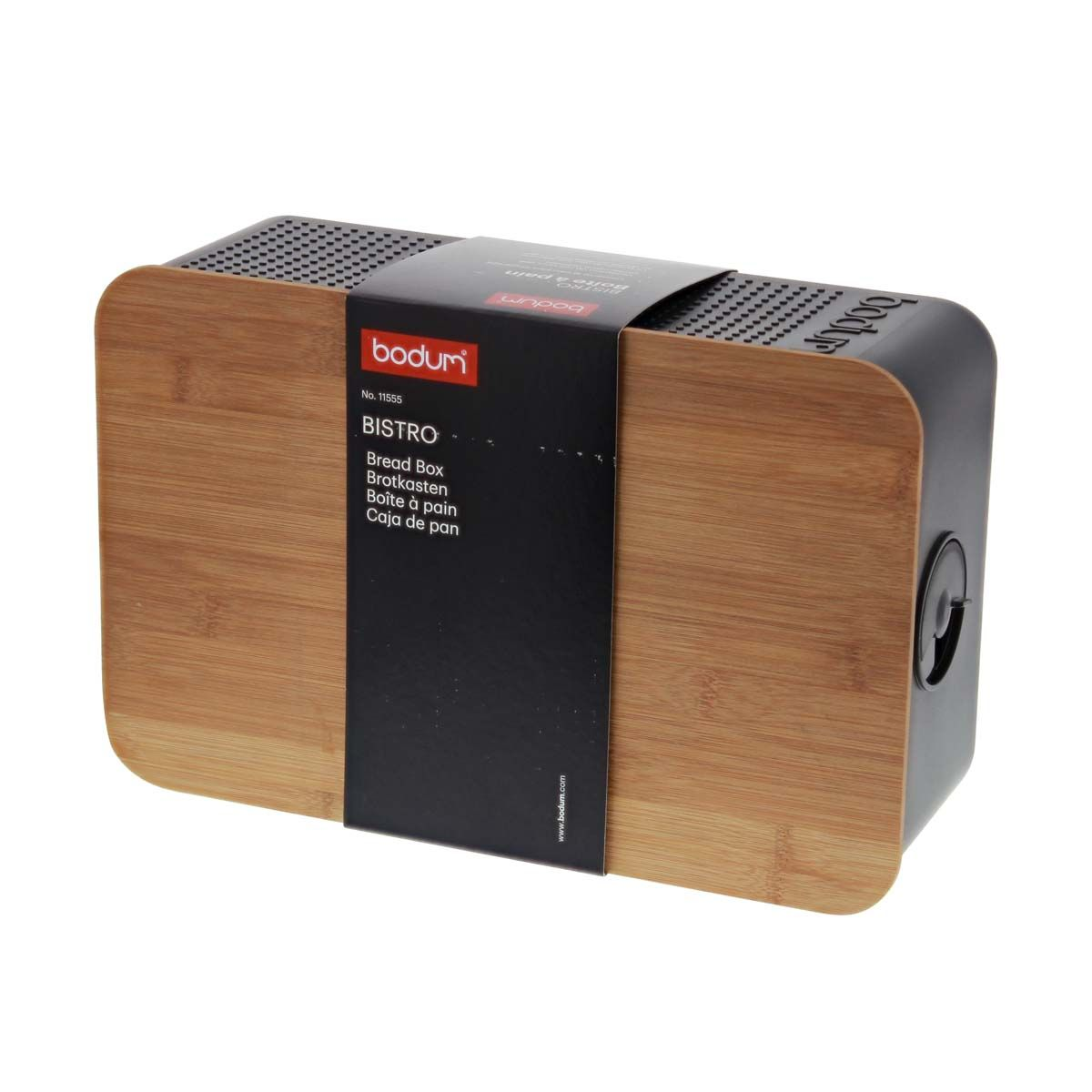 Boite à pain noire avec couvercle planche en bambou 14 x 24 x 37 cm - Bodum