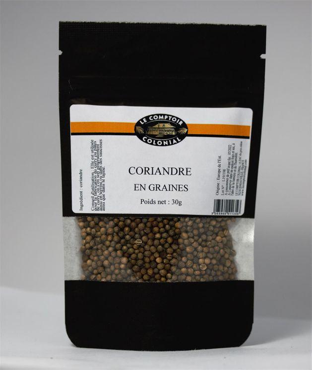 Coriandre en graines sachet 30gr - Le comptoir colonial
