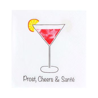 SERVIETTES PROST, CHEERS & SANTE 25X25CM - COCKTAIL