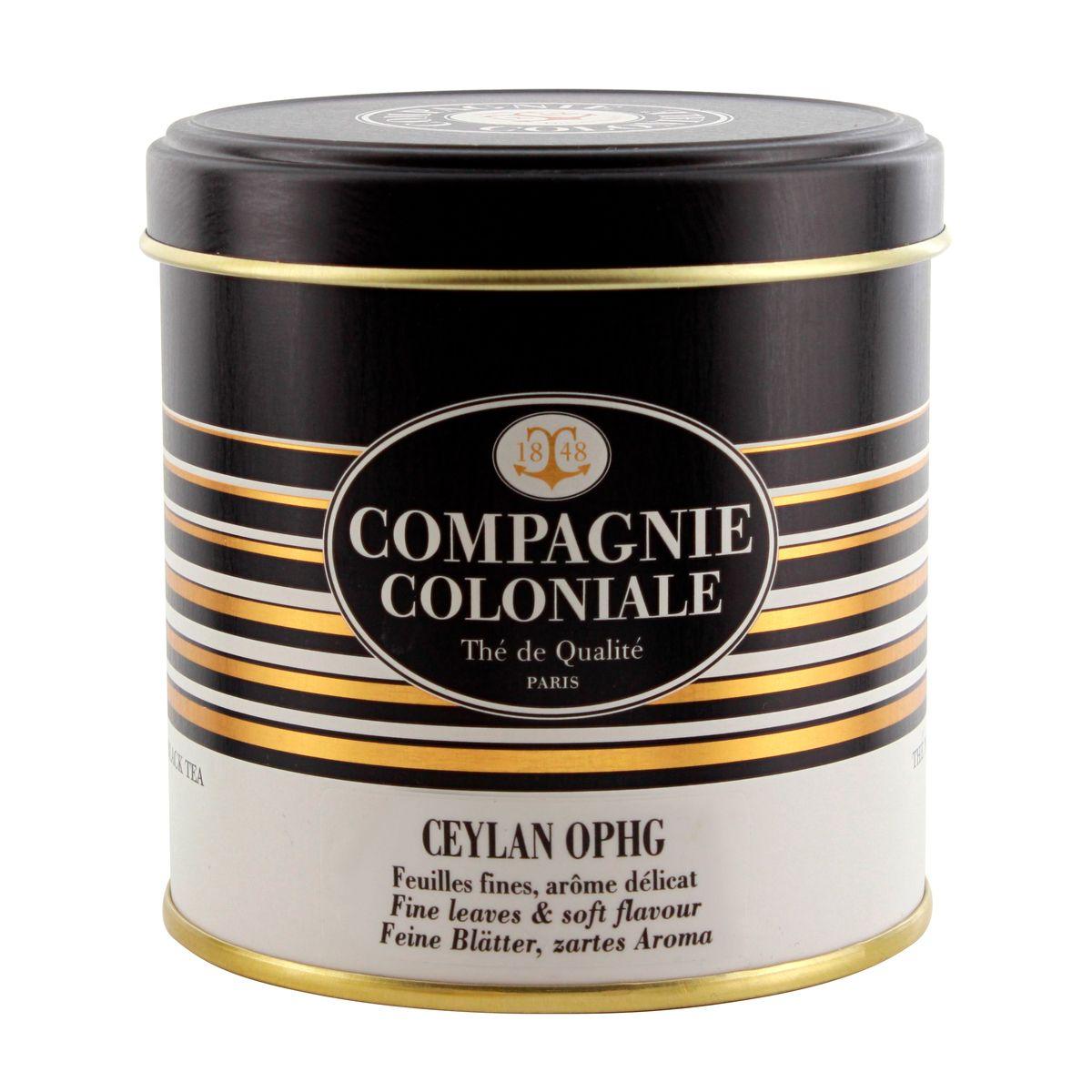 Thé noir nature boîte métal Ceylan ophg 100gr - Compagnie Coloniale