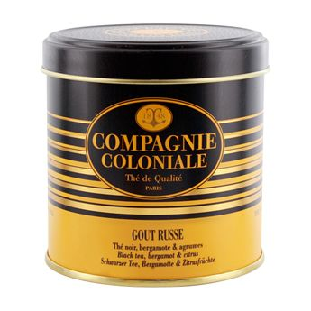 THE NOIR AROMATISE BOITE METAL GOUT RUSSE - COMPAGNIE COLONIALE