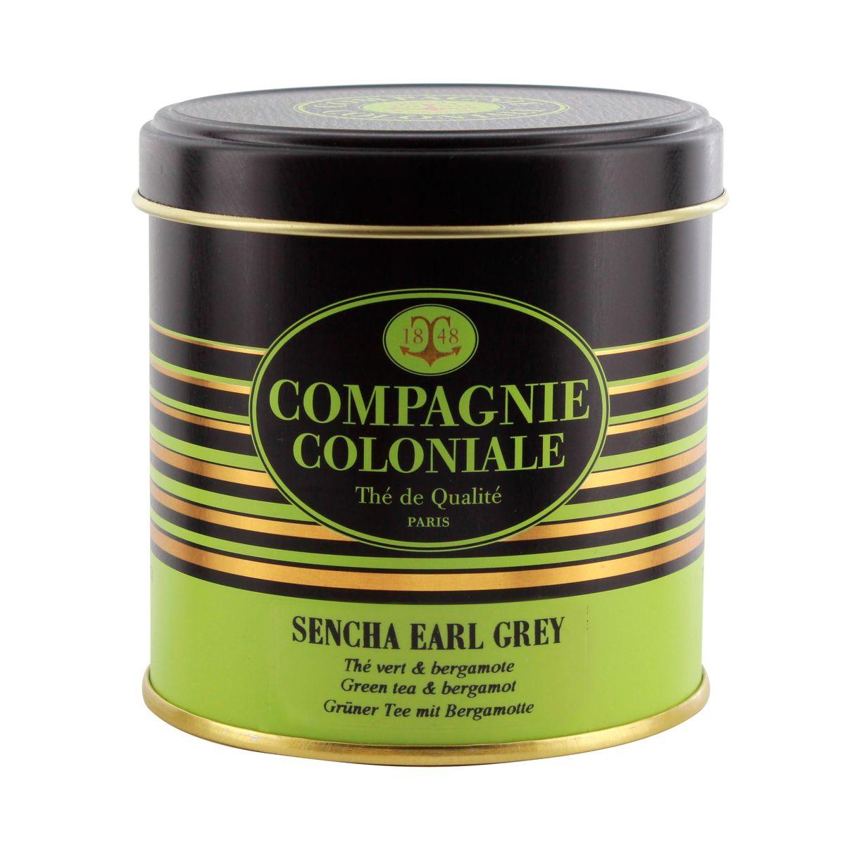 Thé vert aromatisé boîte métal Sencha Earl Grey - Compagnie Coloniale