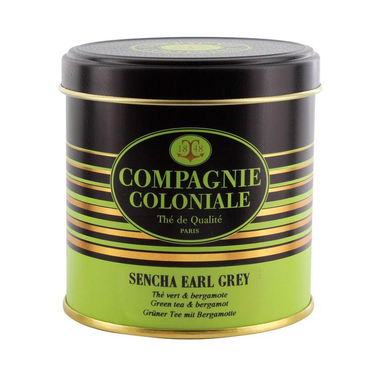 Thé vert nature et aromatisé boîte métal Sencha Earl Grey - Compagnie Coloniale