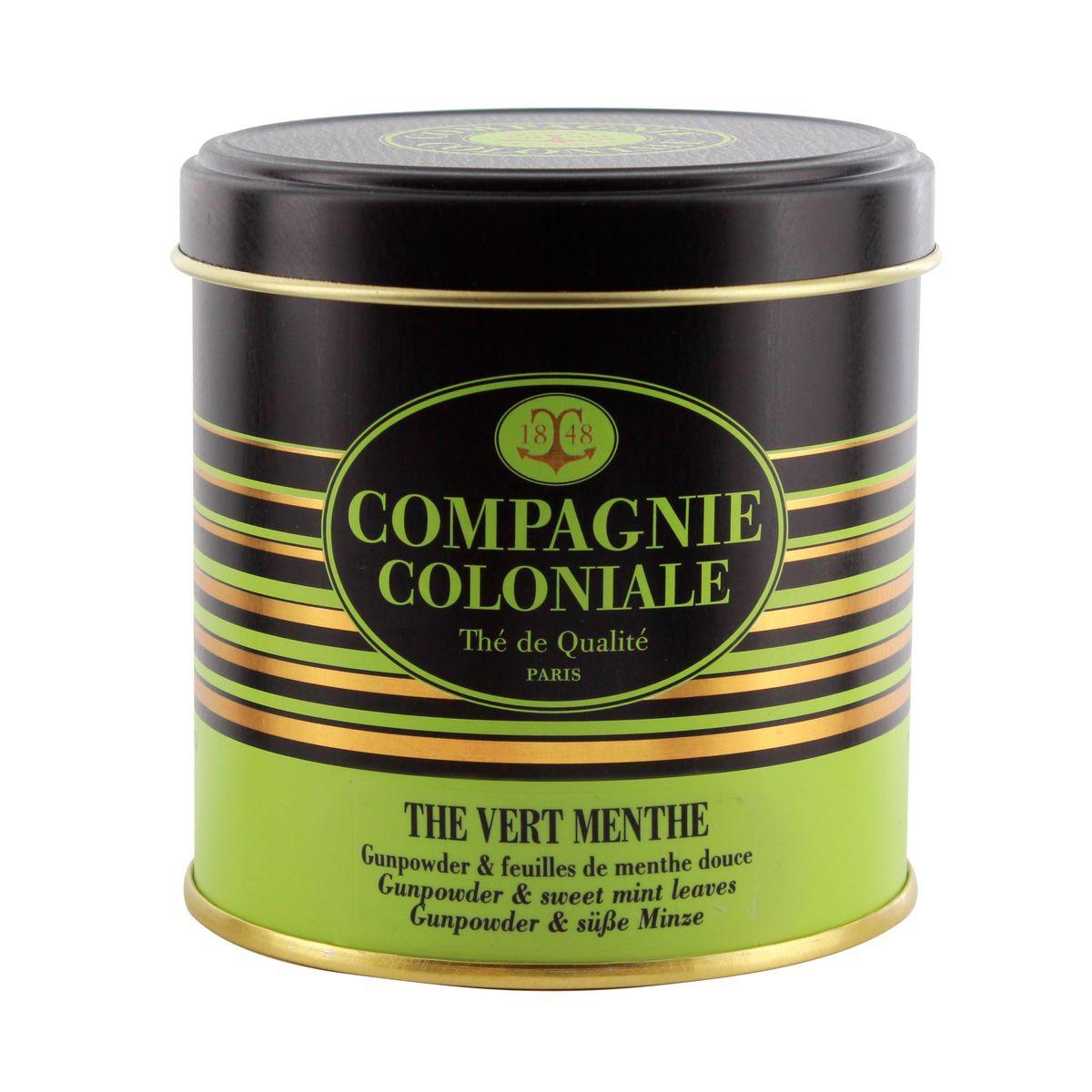 Thé vert aromatisé boîte métal thé vert menthe 100gr - Compagnie Coloniale