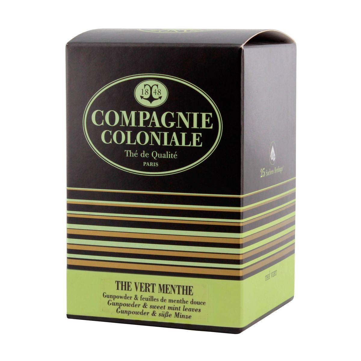 Thé vert nature et aromatisé  25 berlingots thé vert menthe - Compagnie Coloniale