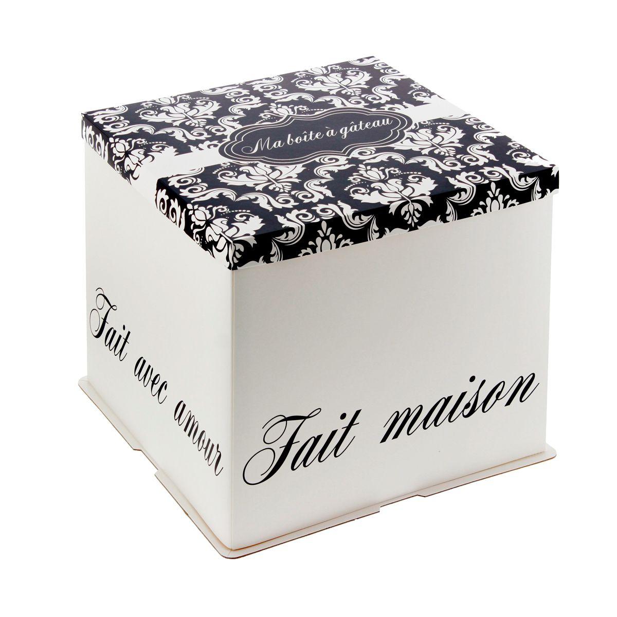 Boîte à gâteaux blanche et noire 31 x 31 x 26 cm - Patisdecor