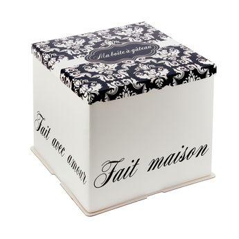Achat en ligne Boîte à gâteaux blanche et noire 31 x 31 x 26 cm - Patisdecor