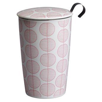 Tisanière porcelaine blanche motif feuille 350ml - Teave