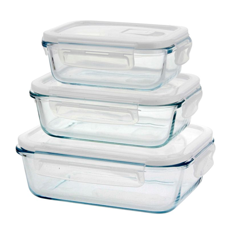 SET DE 3 BOITES RECTANGULAIRES EN VERRE 400 ML/650 ML/1000 ML - PEBBLY
