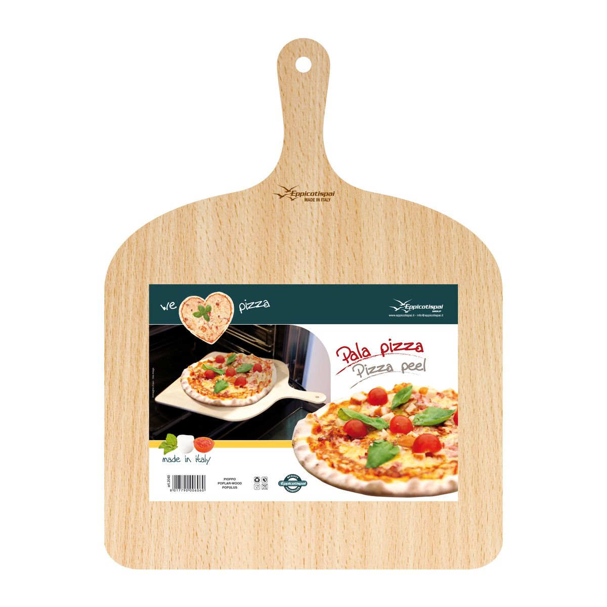 Pelle à pizza 30 cm en bois naturel - We Love Pizza