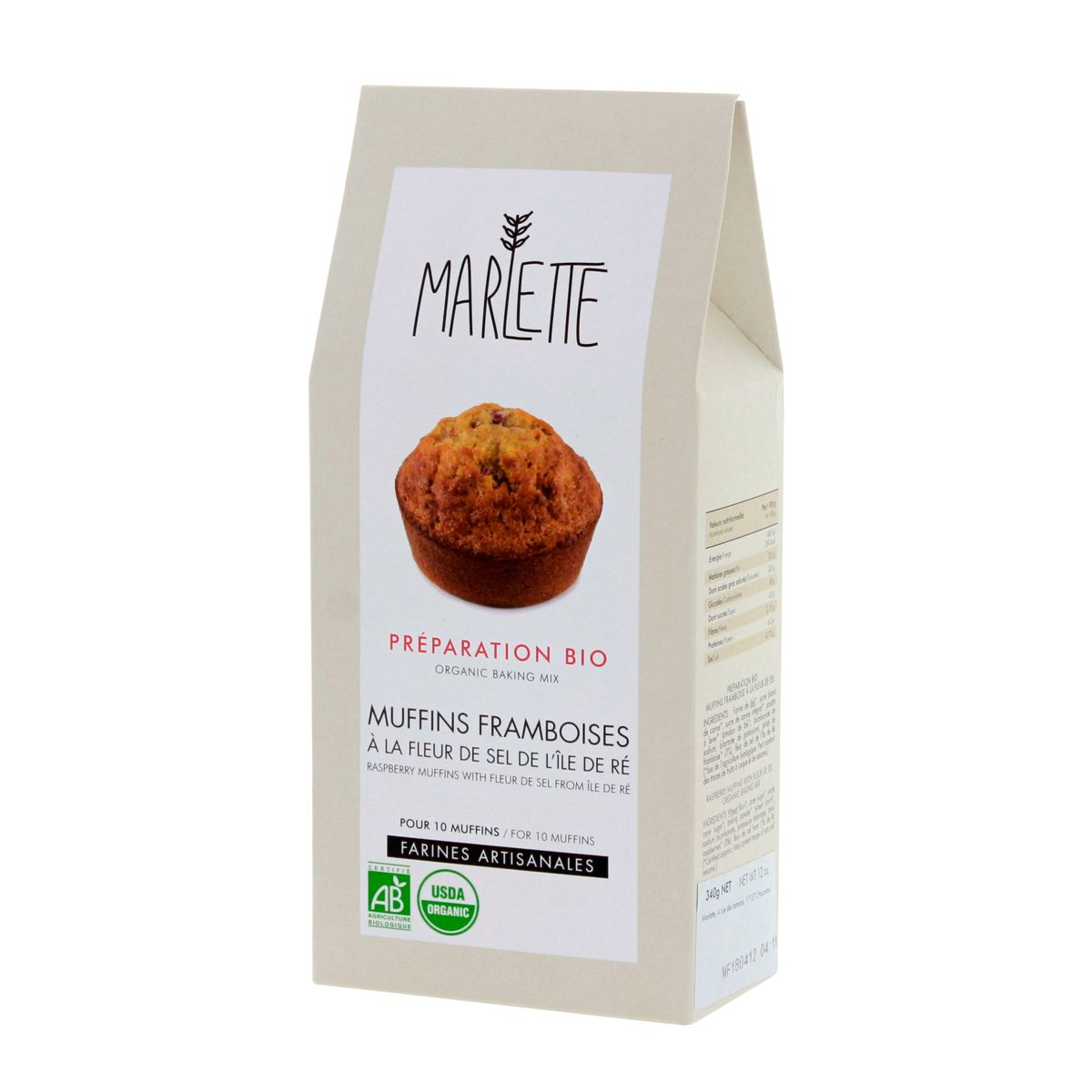Préparation bio pour muffins framboises à la fleur de sel 340gr - Marlette
