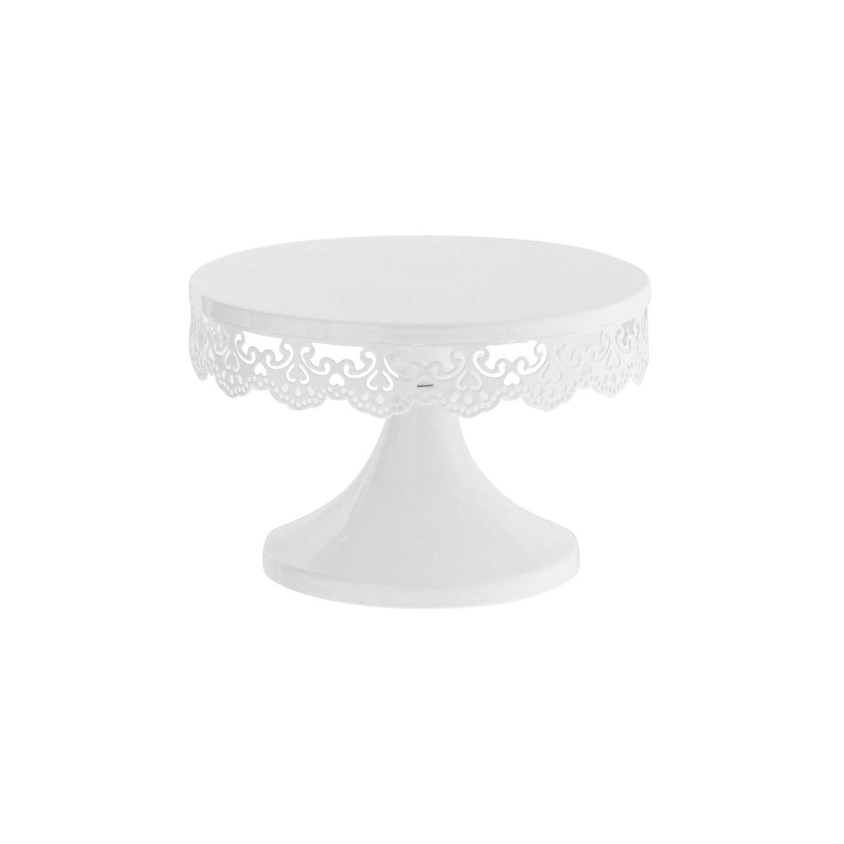 Présentoir à gâteau blanc avec broderies 18cm - Patisdecor