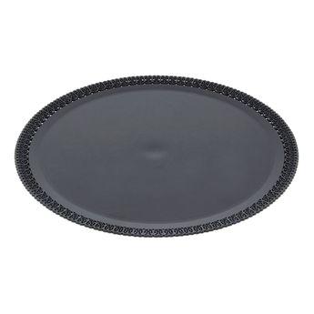 Plateau rond en plastique noir avec bords dentelle 32cm - Patisdecor