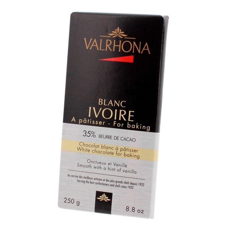 Mini-blocs chocolat blanc à pâtisser ivoire 35% 250gr - Valrhona