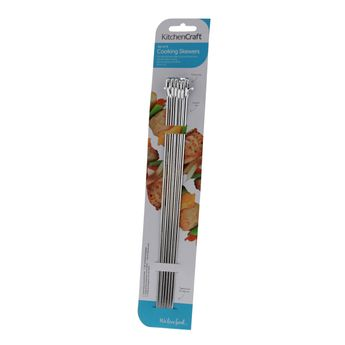 Lot 6 grandes brochettes 30cm bord plat en inox - Kitchencraft