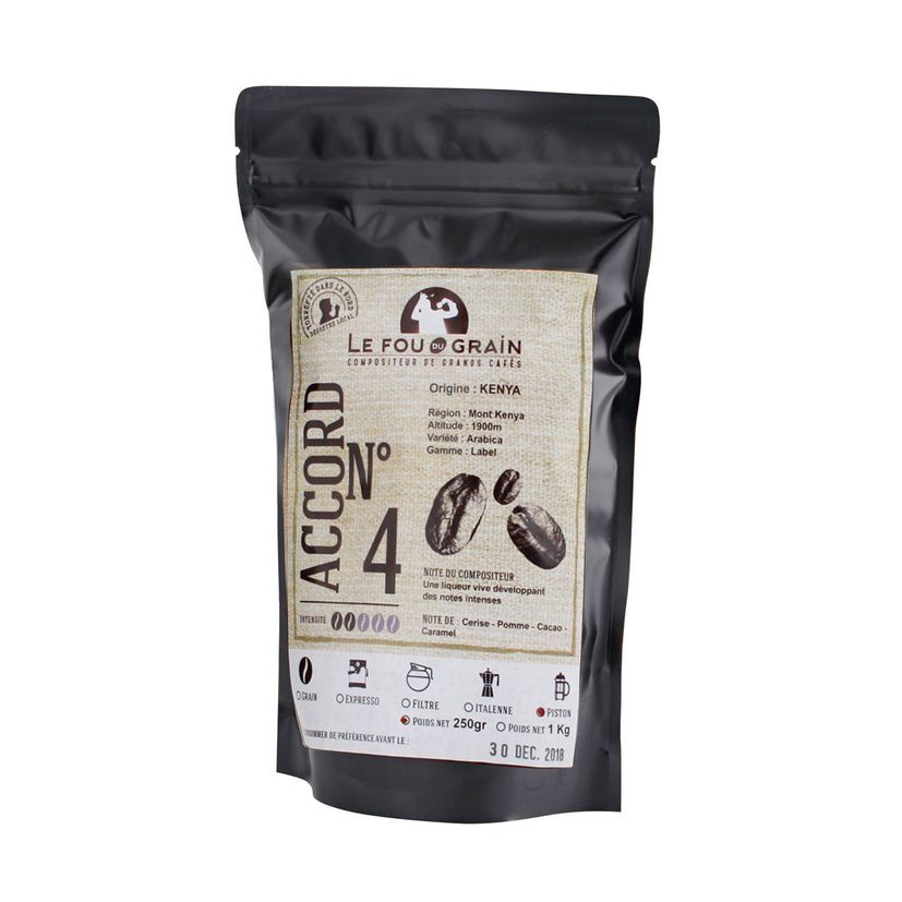 Café moulu pour cafetière piston Kenya Accord n°4 250gr - Le Fou du Grain