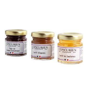 Achat en ligne Réglette foie gras et compagnie (Condiment Figue au Vinaigre Balsamique. Confit de Sauternes. Confit d'Oignons)2x45g
