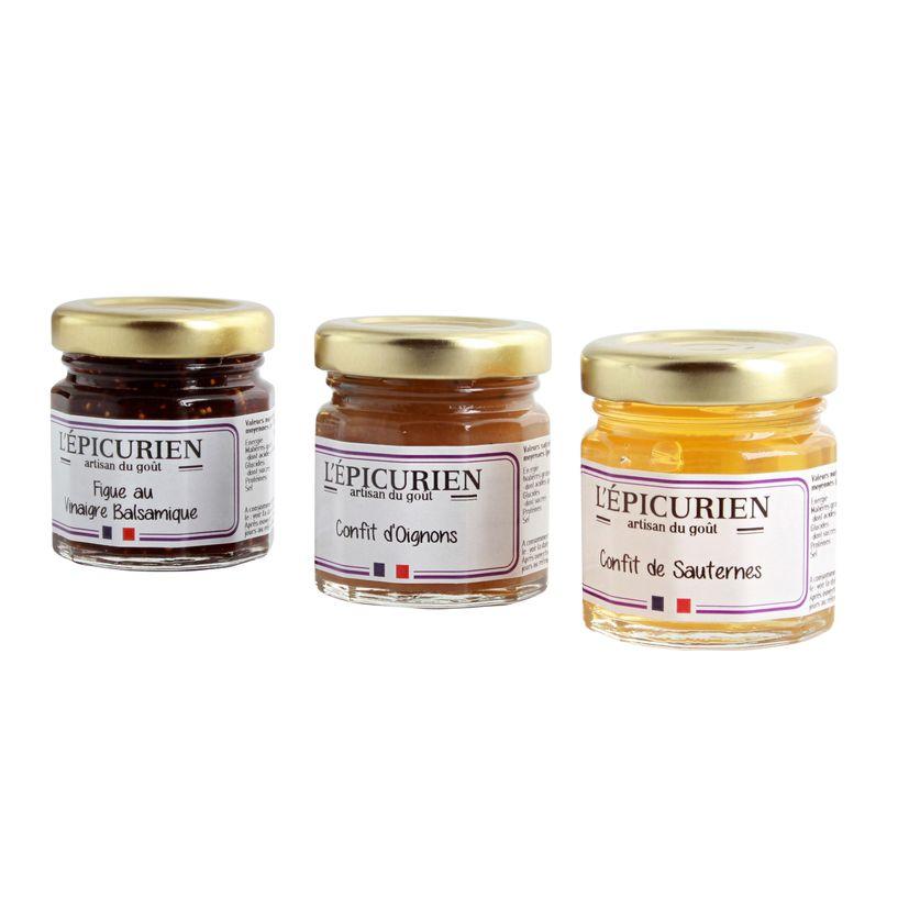 Réglette foie gras et compagnie (Condiment Figue au Vinaigre Balsamique. Confit de Sauternes. Confit d'Oignons)2x45g
