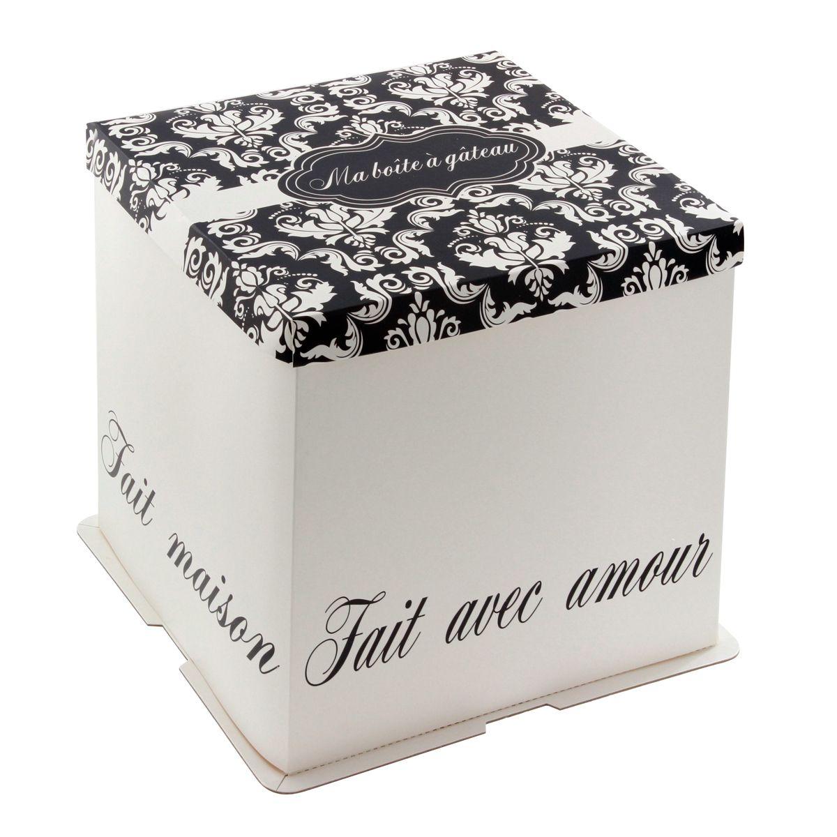Boîte à gâteaux blanche et noire 26 x 26 x 24 cm - Patisdecor