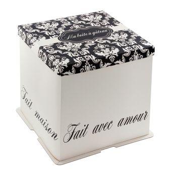 Achat en ligne Boîte à gâteaux blanche et noire 26 x 26 x 24 cm - Patisdecor
