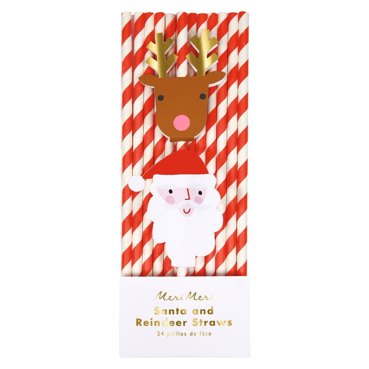 24 pailles en papier renne et Père Noël - Meri Meri