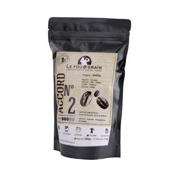 Achat en ligne Café moulu pour cafetière italienne 250gr Brésil Accord n°2 - Le Fou du Grain
