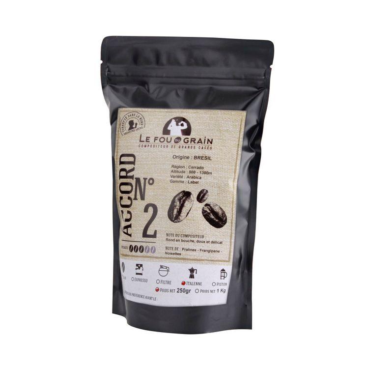 Café moulu pour cafetière italienne 250gr Brésil Accord n°2 - Le Fou du Grain