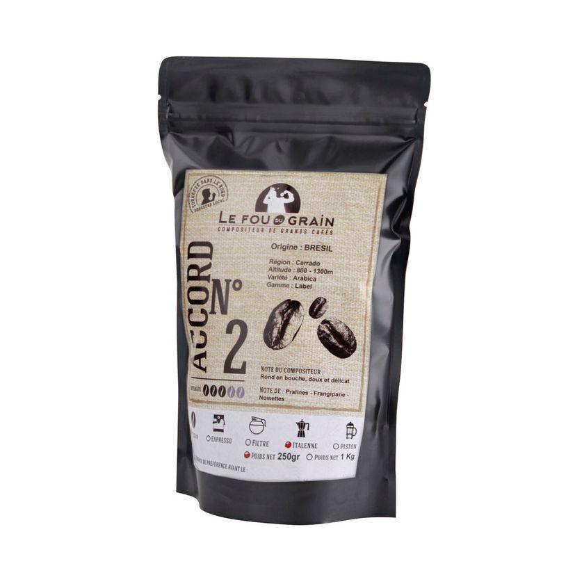Café moulu pour cafetière italienne Brésil Accord n°2 250gr - Le Fou du Grain