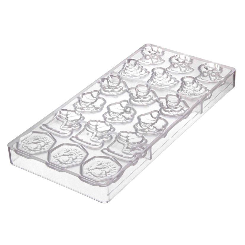 PLAQUE MOULES COPOLYESTER CHOCOLAT 18 MINI DECORS NOEL - MATFER