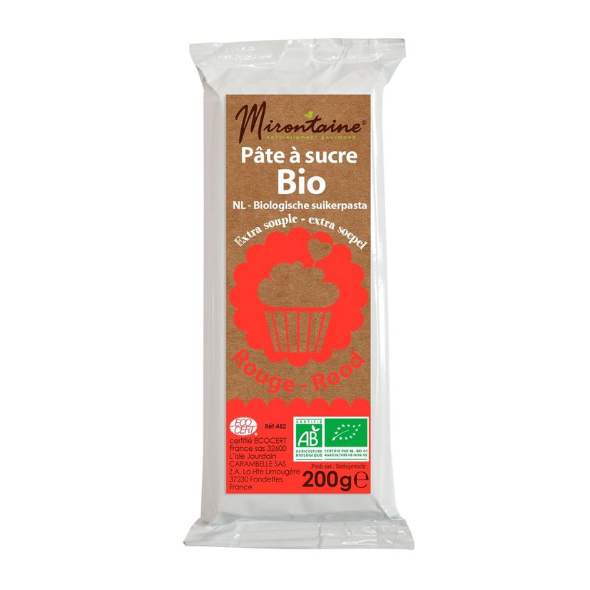 Pâte à sucre bio rouge 200gr - Mirontaine