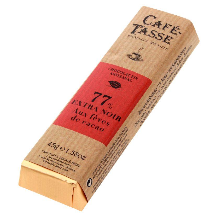 Bâton assorti goût extra-noir 77% aux fèves de cacao 45gr - Cafetasse