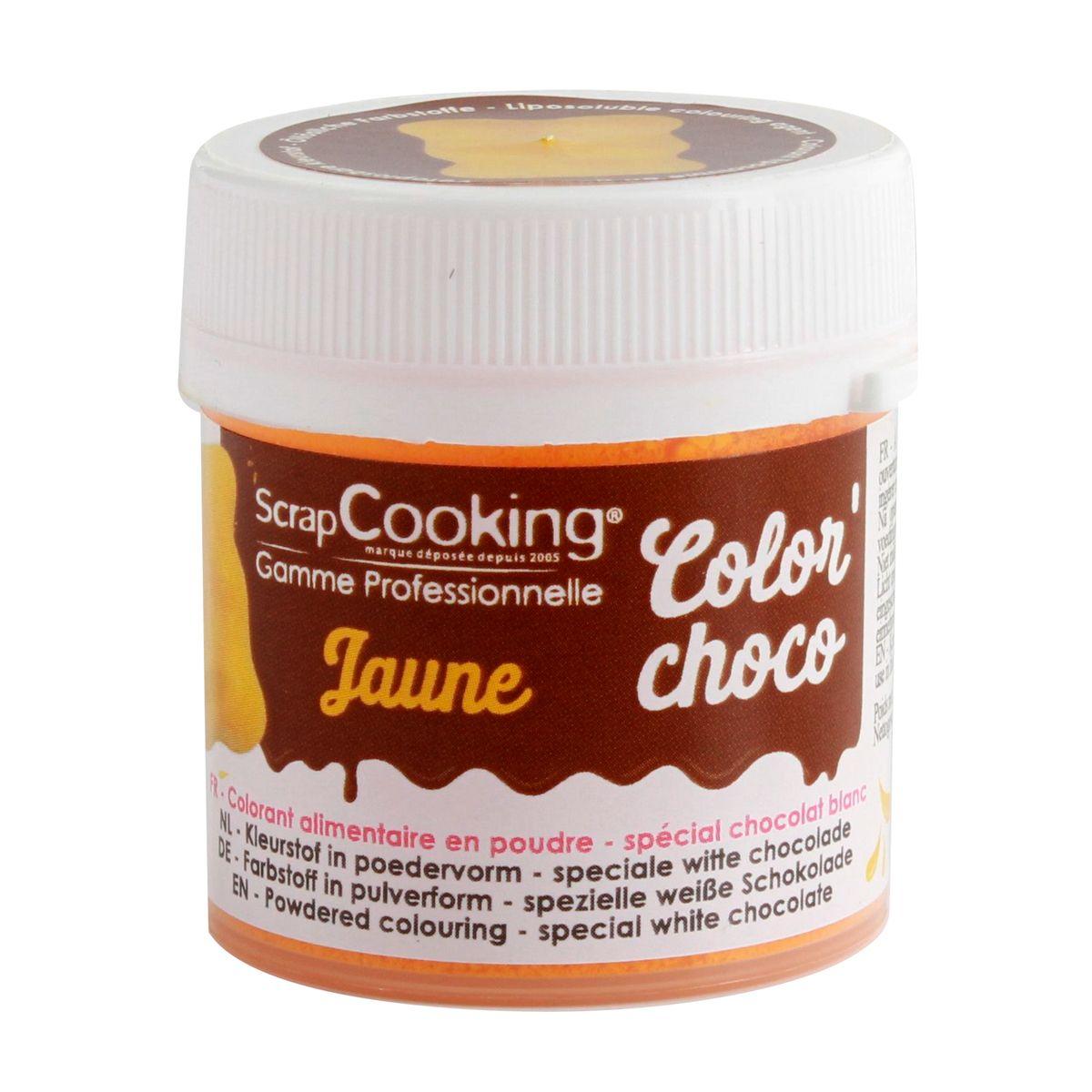 Colorant alimentaire en poudre liposoluble jaune idéal pour colorer le chocolat blanc 5gr - Scrapcooking