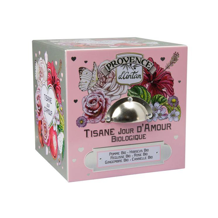 Cube métal tisane jour d amour 24 sachets bio* 60g - Provence d´Antan