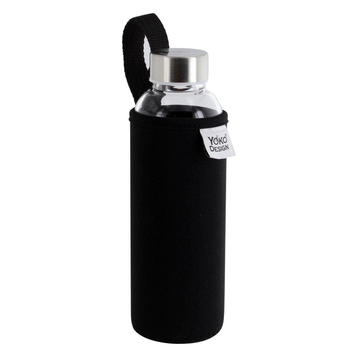 Bouteille en verre avec pochette néoprène noire 500ml - Yoko Design