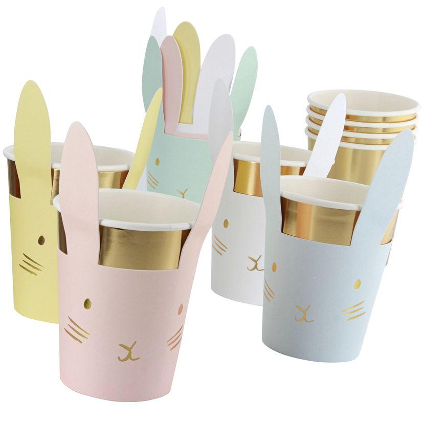 8 gobelets lapins assortiment 8 couleurs pastel et doré - Meri Meri