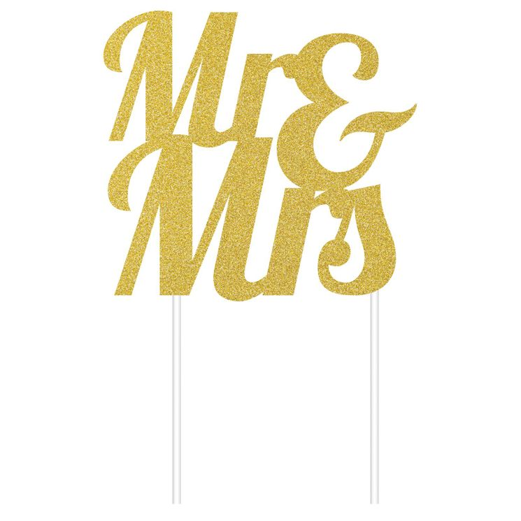 Décoration gâteau cake topper Mr & Mrs or - Creative Party