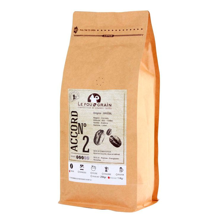 Café en grains Brésil Accord n°2 1kg - Le Fou du Grain