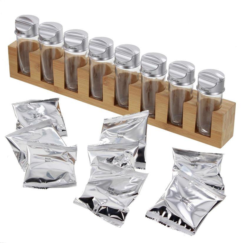 Support à épices en bambou 8 bouteilles et épices incluses - Trudeau