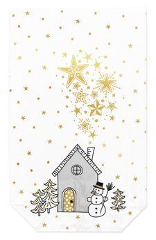 Achat en ligne 10 sachets confiseur avec clips maison étoilée de Noël 14.5 x 23.5 cm - Zischka