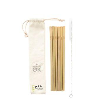 Achat en ligne Set de 6 pailles en bambou + brosse - Point Virgule