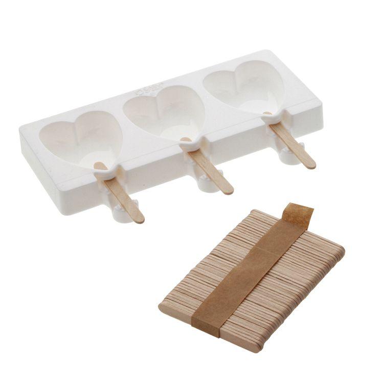 Moule 3 mini glaces esquimau cœurs en silicone et 50 bâtonnets en bois - Silikomart